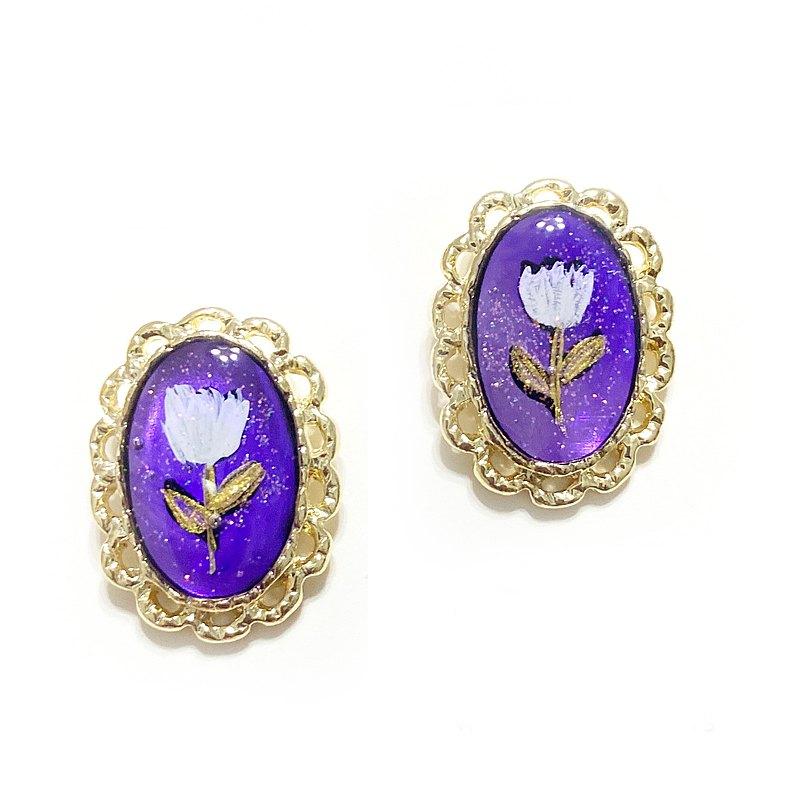 日本樹脂紫色手繪耳環(可改夾)