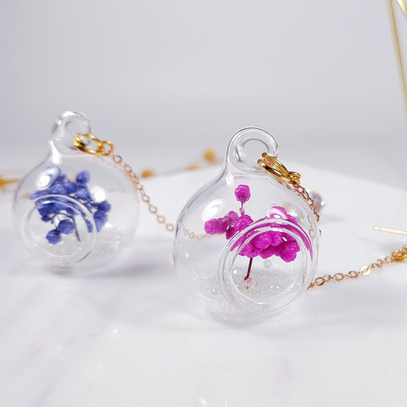 Daqian Design Micro Landscape Everlasting Flowers Not Withered Glass Ball Earrings Wedding Outside Valentine's Day