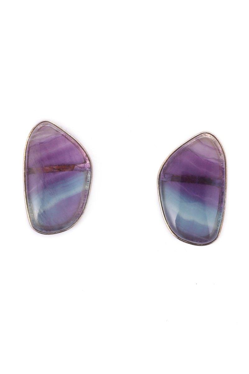 Aurora Collection - S925 Sterling Silver With Rainbow Fluorite Drop Earrings 01