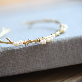 My Dear Branches & Pearl Bracelet Series │ Natural Pearl Brass Bracelet Christmas Gift