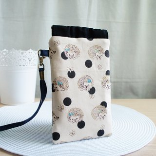 Lovely [Japanese cloth] black point hedgehog mobile phone bag, pencil case, glasses bag, 5.5 inch mobile phone available