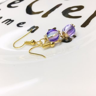 ◙ ◙ can change the clip-purple indigo light waves | Glass | Glass Dangle Earrings