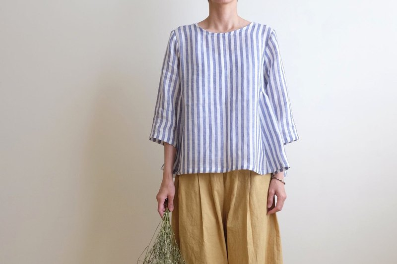 Daily hand-made suit blue striped air sense seven-point sleeve umbrella blouse linen