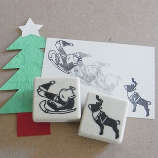 Chirstmas handmade rubber stamp Flying Santa and reindeer