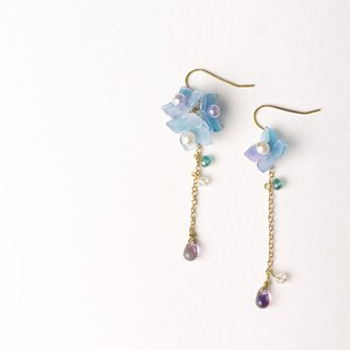 Hydrangea Earrings in Blue
