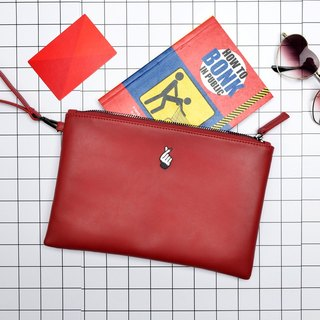 KIITOS moment series flat leather clutch - love gesture paragraph