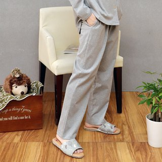 Organic cotton drawstring loose home pants (twisted dark gray)