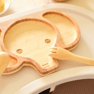 La-boos natural bamboo children's cutlery - baby elephant wang yue yue birthday gift