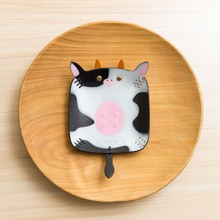 Animal Series - Hand painted leather small cap / jewelry storage / (cow)
