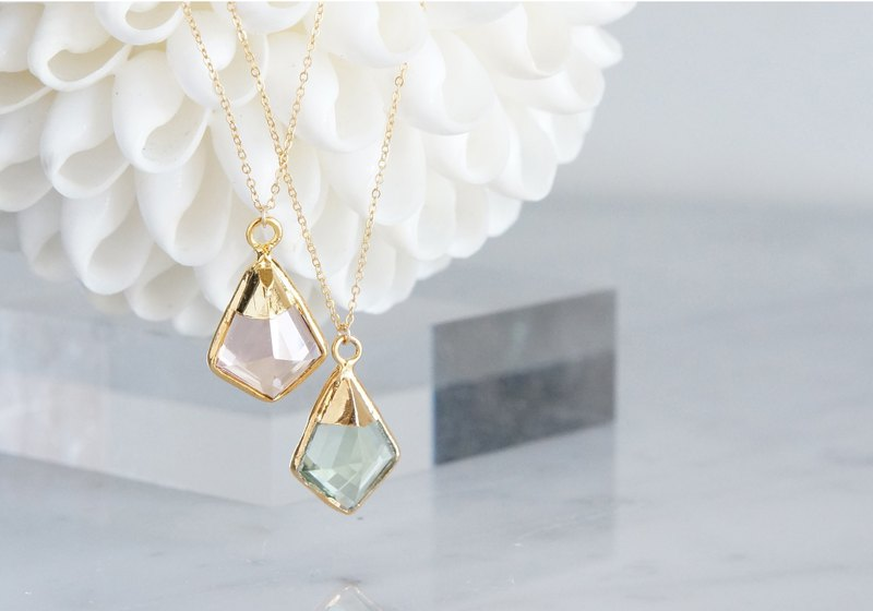 【14KGF】 Necklace,Green Amethyst Quartz/Morganite Quartz