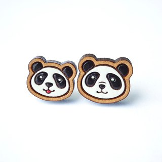 Painted wood earrings-panda(Man&Kid)