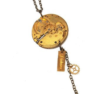 1950s Antique Pocket Watch Movement Necklace