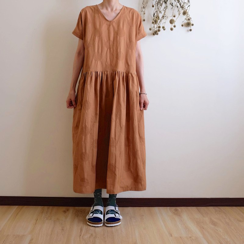 Daily hand-made suit retro warm orange braided water jade wide dress linen cotton