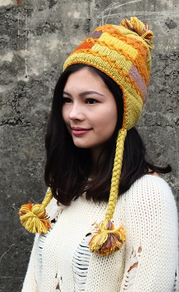【Grooving the beats】Handmade Hand Knit Wool Earflap Hat, Fisherman's Wool Hat, Earflap Pom Cap, Natural Wool Cap, Wool Trapper Hat, Aviator Hat, Fisherman's Wool Chullo,Bomber Hat(Yellow)