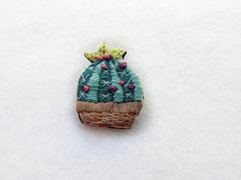 Cactus hand embroidered pin