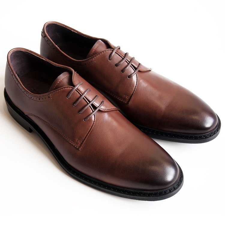 [LMdH] D1A71-89 hand-colored calf leather with plain wooden Derby Shoes Men - Brown - Free Shipping
