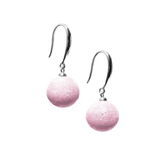 Candy cement bead earrings (ear hook style) - Pink