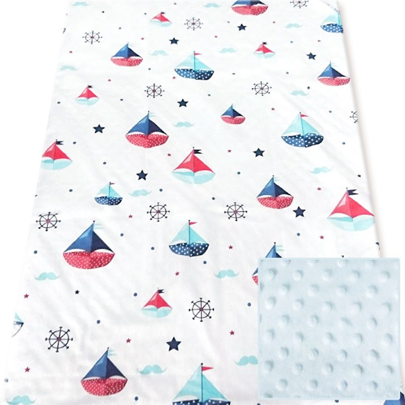 Minky multi-function point particle carrying blanket baby blanket cold air blanket is blue - sailing