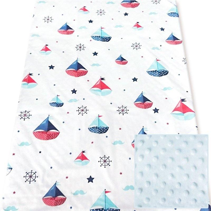 Minky多功能 點點顆粒 攜帶毯嬰兒毯冷氣毯被 藍色-帆船