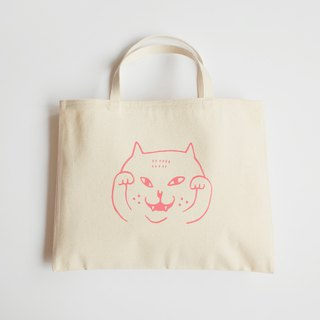 Canvas Tote / Eco Bag / Two Cups Drink Bag / Waving Cat / Pink