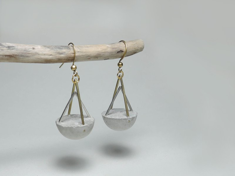Cement Handmade Earrings Earrings - 線構