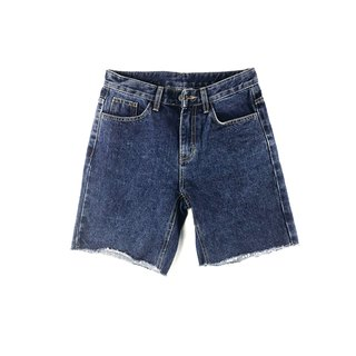 women cropped mid rise short jeans - dark blue