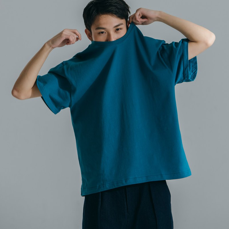 hao Seablue Oversized Cotton Tee 海洋藍寬鬆短T