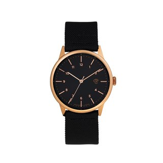 Chpo Brand Swedish Brand - Rawiya Rose Gold Black Dial - Black Canvas X Honey Brown Leather Watch