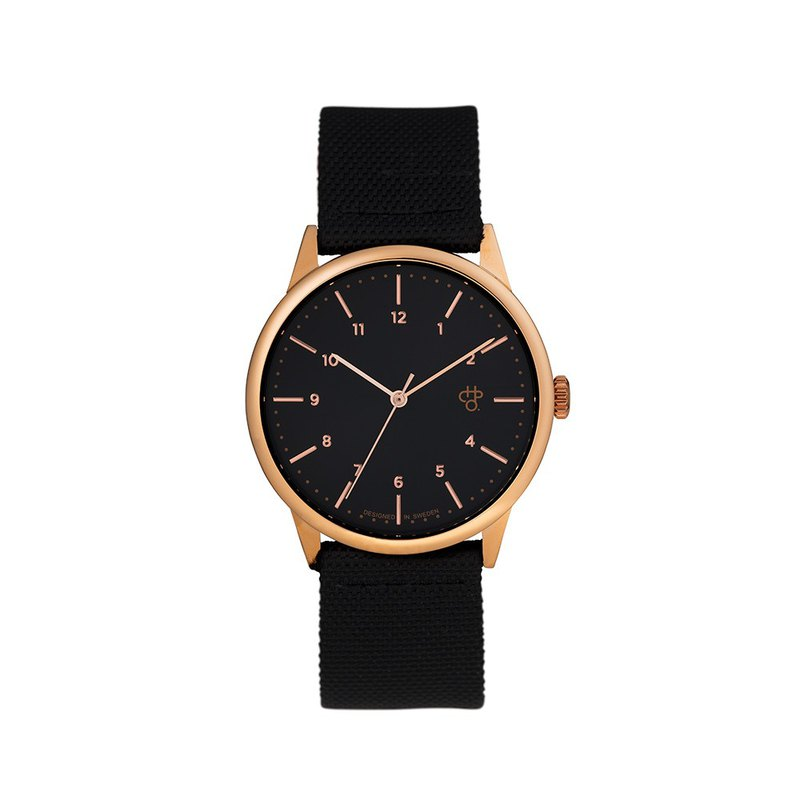 Rawiya Rose Gold Black Dial - Black Canvas X Honey Brown Leather Watch