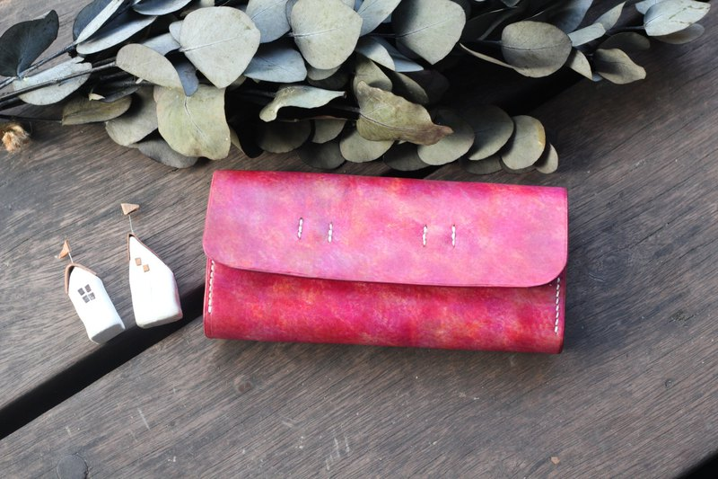 Accordion vegetable tanned leather long wallet  - Béatrise
