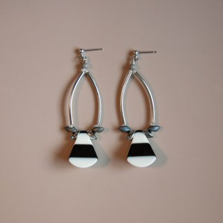 Retro Stripes Black & White Drop Earrings