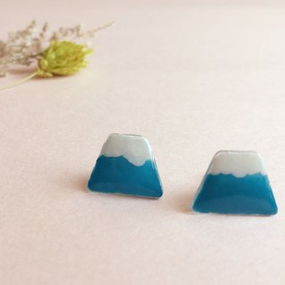 Blue Hill - hand-painted earrings (can change the clip)