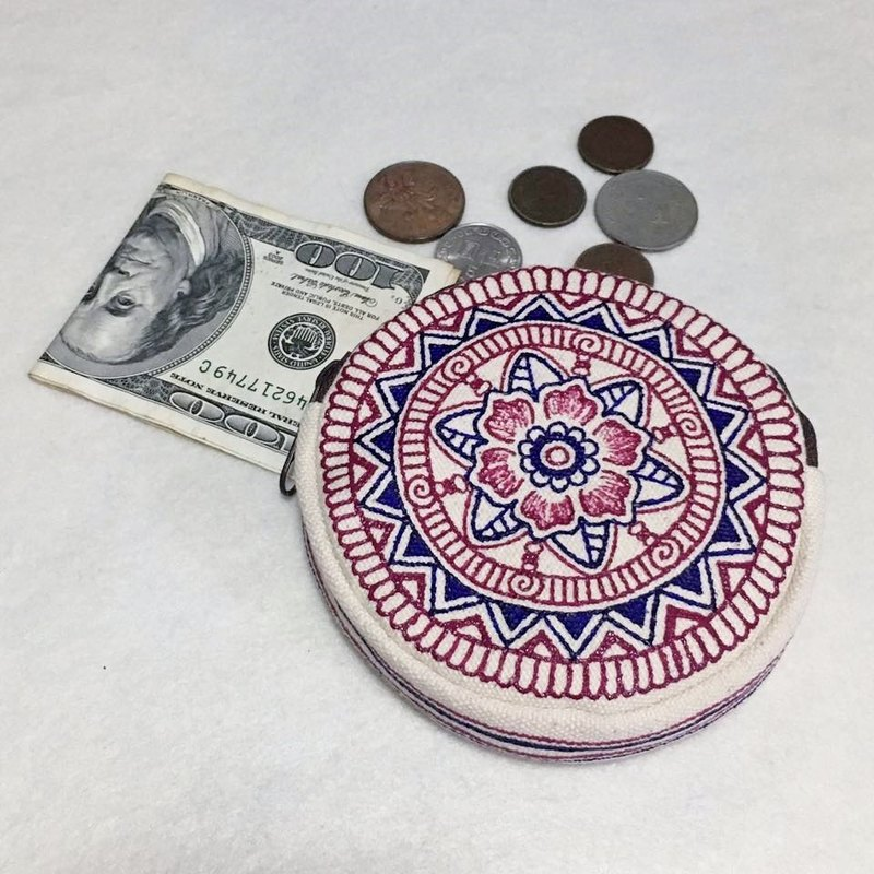 Coin Purse Zipper Pouch Mandala Pattern Hand Painted Henna Bag Art