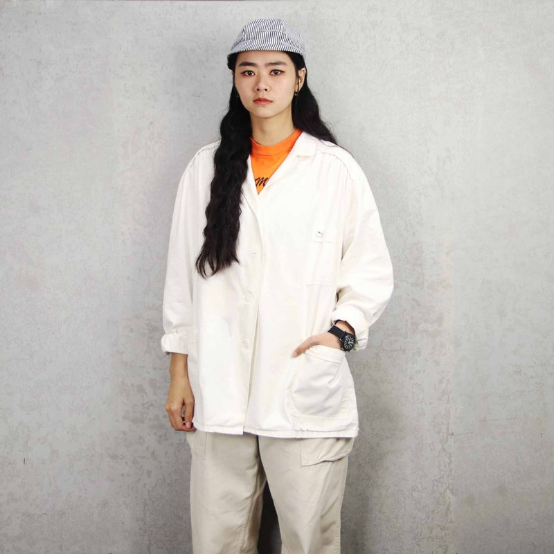 Tsubasa.Y Antique House 005 Pure White Work Shirt, Workwear Shirt Top Jacket