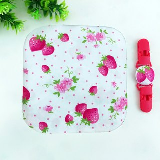 Strawberry garden. Double-sided cotton handkerchief + handkerchief clip (can increase the price of 40 embroidery name)