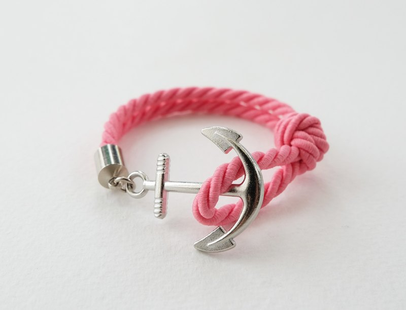 Anchor bracelet / Matte pink twisted rope