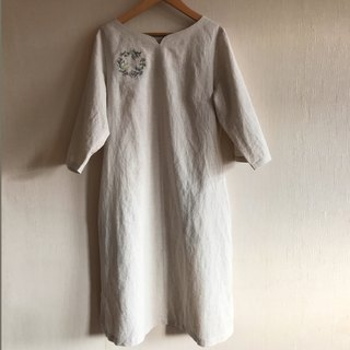 Herbal hand embroidered cotton linen dress