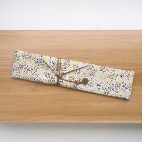 Beige floral - cutlery pouch free typing