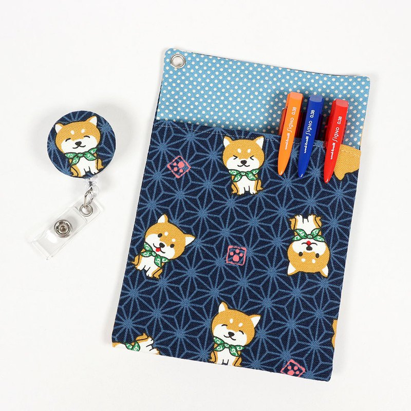 Physician's Pocket Pocket Leakproof Ink Storage Bag Pen Bag + Document Clip - Cute Little Shiba Inu (Blue)