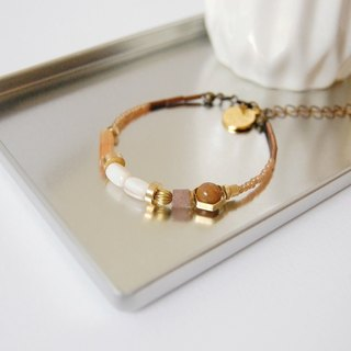 日和 the good day|Orange Pearl Brass Crystal Gemstone Bracelet