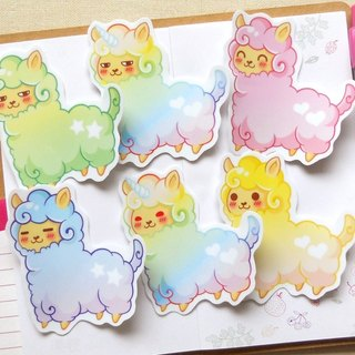 大張羊駝貼紙6入 - Large Alpaca Stickers