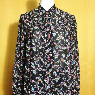 Ping-pong vintage [vintage shirt / long-sleeved chiffon flowers black vintage shirt] abroad back VINTAGE