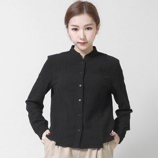 Philosophy philosophical stand collar wrinkled shirt _6AF009_ black