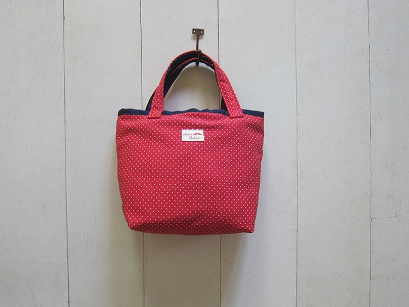 Macaron series - small tote bag (magnetic buckle opening) red bottom small white point + navy blue