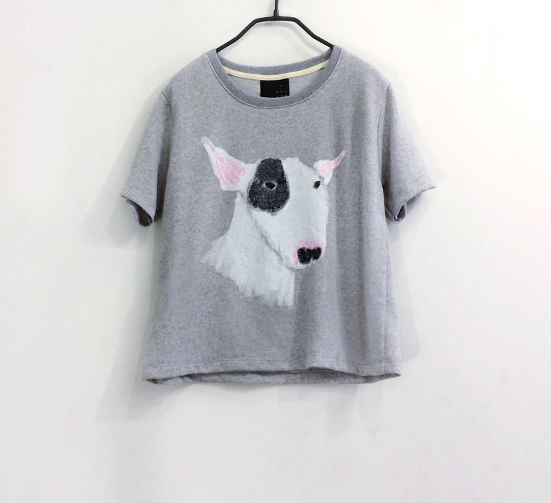 bull terrier : short sleeve crop top