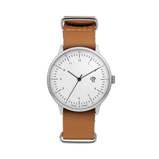 Chpo Brand Swedish Brand - Harold Series Silver White Dial Honey Brown Leather Leather Watch