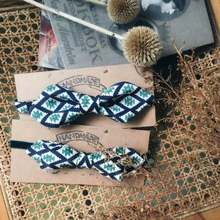 Marriage Graduation Gift - Antique Cloth Tie Tie Handmade Bow Tie - Geometric Blue - Wide Edition