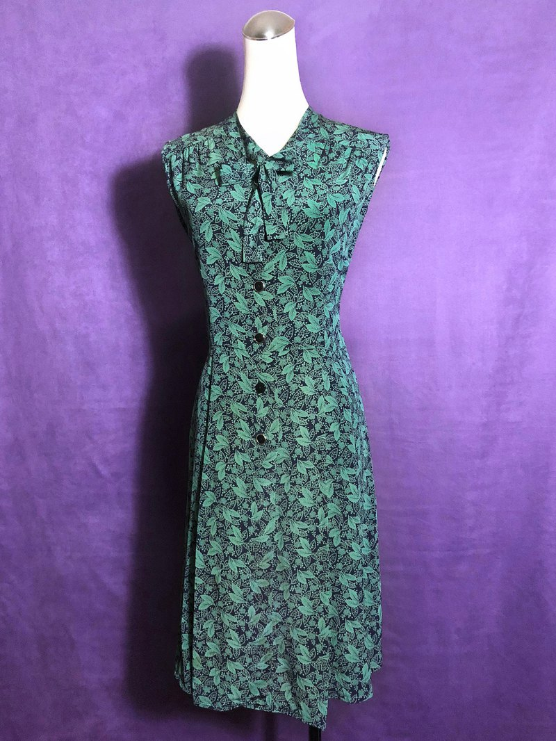 Silky leaf bow tie sleeveless vintage dress / abroad brought back VINTAGE