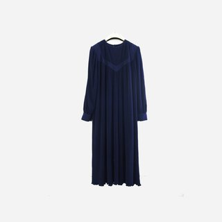 Dislocation vintage / dark blue plain elastic dress no.931 vintage