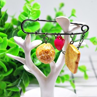 ➽ simulation dessert pin ★ - puff + monster toast afternoon tea - # clothes accessories # # bag pendant #